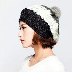 Hairball knit beret hat for women striped winter beanie hat
