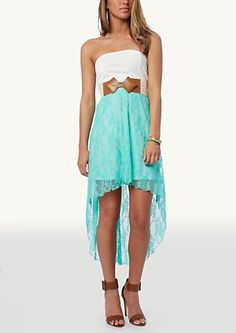 Cutout Ponte Lace High Low Dress   High Low   rue21