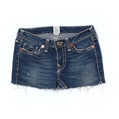 Pre-owned True Religion Denim Shorts ($31) ❤ liked on Polyvore featuring shorts, navy blue, short jean shorts, denim short shorts, navy shorts, true religion and navy blue shorts
