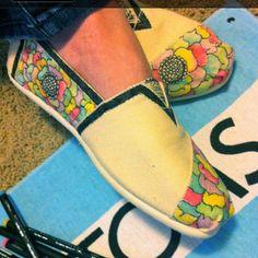 Custom painted Toms by Sydney Larsen.