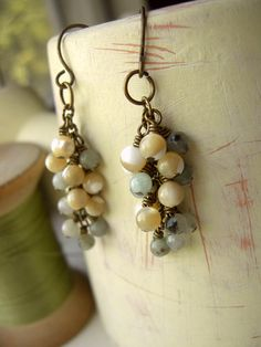 Boho Amazonite and Shell Beaded Dangle Earrings  by Flowerleaf, $28.00