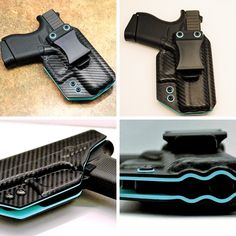 Glock 42 (380) G42 | 2 Tone IWB Kydex Holster | Black Carbon Fiber / Robin Egg Blue | Appendix Carry | Straight Draw | Concealed Carry - NOTE:  Picture shown is example only, each holster is molded to fit the specific weapon listed.  All IWB Holsters are meant to be worn on the inside of the pants with a belt only.   This is for a High Quality - High Definition -  Kydex Holster    100% Satisfaction Guarantee!   Our  2 tone Inside Waistband (IWB) Kydex Holster is both lightweight and…