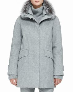 e8abac961df Loro Piana Cashmere Melange Storm Coat with Fox Fur Trim - ShopStyle