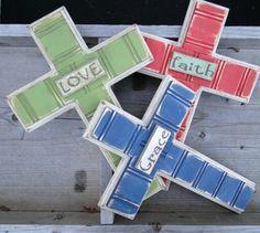 Distressed painted crosses - very fun