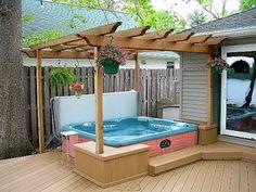 pergola for hot tub n under cedar deck over ideas pic Hot Tub Pergola, Hot Tub Backyard, Deck With Pergola, Backyard Pergola, Pergola Kits, Gazebo, Outdoor Decking, Pergola Plans, Pergola Ideas