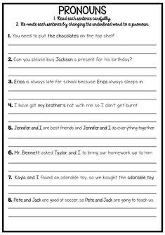 Reading and Grammar Pack - No Prep Printables Pronoun Worksheets, Pronoun Activities, 1st Grade Worksheets, Subject And Predicate Worksheets, Prepositions, Printable Worksheets, Free Printables, English Spelling, Teaching English Grammar