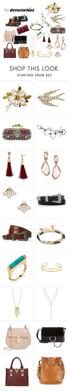 """accessories"" by thedailyuniform on Polyvore featuring Alexander McQueen, BaubleBar, Mark Broumand, Sole Society, Yves Saint Laurent, Shashi, Lauren Ralph Lauren, Vince Camuto, Chloé and Tory Burch"