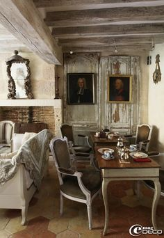 Rustic and elegant small drawing roomin French summer cottage