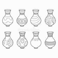 Illustration about Coloring book for children (vases). Illustration of element, adorable, container - 51776761 Pottery Painting Designs, Paint Designs, Drawing For Kids, Art For Kids, Blue Pottery Jaipur, African Art Paintings, Mosaic Flower Pots, Grands Vases, New Year's Crafts