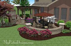 630 sq. ft. of Outdoor Living Space. Seating Area Around Outdoor Fireplace and Outdoor Dining Area. Space for Barbecue Grill Outdoor Fireplace