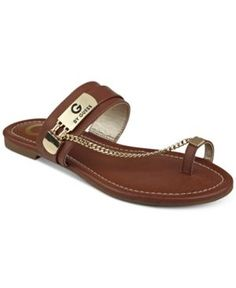 G by Guess Loren Toe Ring Sandals - Brown 8.5M