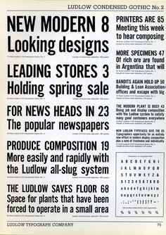 Ludlow Condensed Gothic type specimen