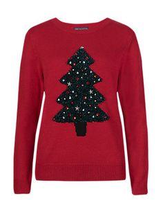 Fluffy & Embellished Christmas Tree Jumper   M&S £28