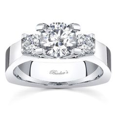 Barkev's 14K White Gold Three Stone Diamond Engagement Ring Featuring Featuring 0.50 Carats Round Cut Diamonds Style 4507L