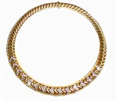Bulgari SPIGA Diamond Gold Necklace #8484 #Bulgari #Choker
