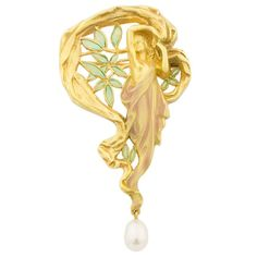 Masriera Enamel Pearl Gold Brooch Pendant | From a unique collection of vintage pendant necklaces at https://www.1stdibs.com/jewelry/necklaces/pendant-necklaces/