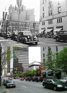 Great then and now Vancouver photos on this site. Vancouver Photos, Vancouver Bc Canada, Vancouver City, Vancouver Island, Draw On Photos, Old Photos, Vintage Photos, Georgia Street, Old Montreal