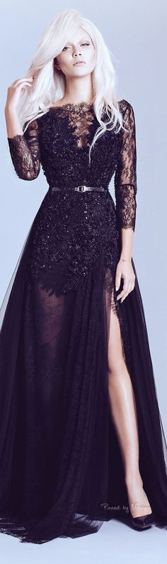 Alfazairy Spring-summer 2015. Long black evening gown, fashion