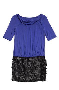 Nicole Miller Faux Leather Paillette Dress