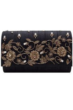 Black zardosi hand embroidered clutch by Vian Zardozi Embroidery, Embroidery On Kurtis, Hand Work Embroidery, Embroidery On Clothes, Hand Embroidery Stitches, Embroidery Fashion, Beaded Embroidery, Best Leather Wallet, Dress Neck Designs