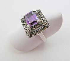 Vintage Amethyst Ring with Marcasite by DesertEarthJewelry on Etsy, #sellergroup