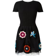Red Valentino embroidered skirt dress (1.078.440 CLP) via Polyvore featuring black y red valentino