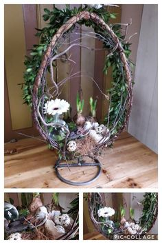 Deco Floral, Spring Is Coming, Fairy Dolls, Easter Wreaths, Diy Flowers, Easter Crafts, Grapevine Wreath, Easter Eggs, Floral Arrangements