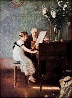"""""""La leçon de clavecin"""", Jules-Alexis Muenier, v.1920"""