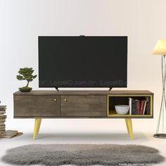 Rack para TV até 42 Polegadas Unique 100% MDF 2 Portas Roble/Amarelo - Incolar
