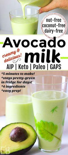 Avocado Milk ~ Paleo | Keto | AIP | GAPS (nut-free, dairy-free, coconut-free) #nondairymilk #aip #gapsdiet #keto #paleo #milk #avocado