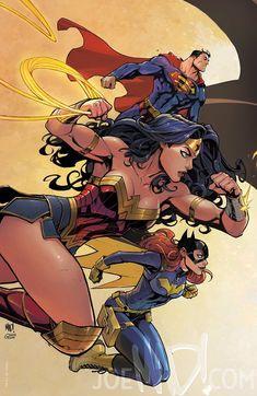 Batman connecting variant covers - Superman, Wonder Woman and Batgirl by Joe Madureira * Joker Comic Book, Comic Book Font, Comic Book Tattoo, Spiderman Comic Books, Archie Comic Books, Comic Book Villains, Comic Book Drawing, Comic Book Layout, Old Comic Books