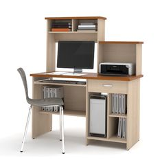 Lowest price online on all Bestar Active Home Office Computer Desk in Copper Cherry and Northern Maple - Home Office Computer Desk, Computer Workstation, Home Office Furniture, College Furniture, Furniture Storage, Furniture Layout, Furniture Decor, Old Tables, Pc Table