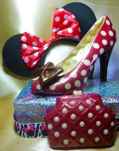 """Minnie Mouse Chocolate Stiletto Shoes - Heels from www.cathryncariad.com """"Give a girl the right (chocolate) shoes and she will   love you forever"""" Cathryn Cariad"""