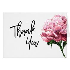 Thank You Typography Watercolor Pink Peony Flower Card - thank you gifts ideas diy thankyou Thank You Pictures, Thank You Images, Peach Flowers, Peony Flower, Pink Watercolor, Watercolor Cards, Appreciation Quotes Relationship, Thank You Typography, Cute Love Cartoons