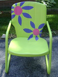 Vintage Collectible 1950's Metal Lawn Chair, Restored and Brightly Painted