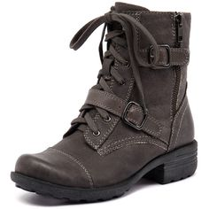 Planet Grunge Grey (150 CAD) ❤ liked on Polyvore featuring shoes, boots, ankle booties, lace up bootie, leather booties, grey leather boots, leather lace up boots and faux-leather boots