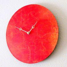 wood clock bright   Unique Wall Clock, Orange Decor, Home and Living, Decor & Housewares ...