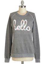 Howdy Do Sweatshirt in Grey | Mod Retro Vintage Sweaters | ModCloth.com