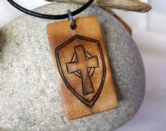 Armor of God Jewelry, Mens Cross and Shield Necklace Pendant, Christian Jewelry for Men #armorofgod #mensjewelry #rusticjewelry #necklace #etsy #etsyshop