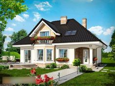 Haus in der Avocado - Sicht 1 - # Hausdesign - haus design - Modern Bungalow House, Craftsman Style House Plans, Small Cottage Homes, House Design Pictures, House Construction Plan, Model House Plan, Kerala Houses, House With Porch, Dream House Exterior