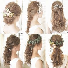 アラサー花嫁におすすめのラブリーすぎない30代のブライダルヘア | marry[マリー] Kawaii Hairstyles, Bride Hairstyles, Bridal Hairdo, Bridal Headpieces, Korean Wedding Hair, Wedding Makeup, Wedding Bride, Flower Headdress, Curly Hair Problems