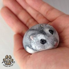 I painted Hamster on natural shape stone. #stone_art #rock_painting #painting…