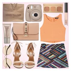 """""""Summer time's"""" by fashionstylenoww ❤ liked on Polyvore featuring Aquazzura, Valentino, Louis Vuitton, The Row, Laura Mercier, Bare Escentuals, NARS Cosmetics and summerbrights"""