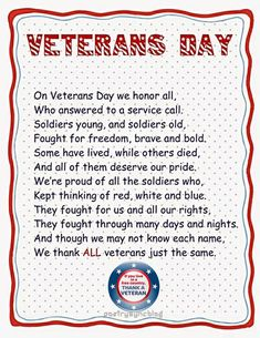 Veterans Day Wishes Quotes, Poems and Sayings Pitures Veterans Day For Kids, Veterans Day Speeches, Veterans Day Poem, Happy Veterans Day Quotes, Free Veterans Day, Veterans Day Images, Veterans Day Thank You, Veterans Day Activities, Quotes About Veterans