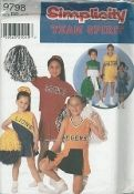 An unused original ca. 2001 Simplicity Pattern 9798.  Child's and Girl's Design your own cheerleader outfits.