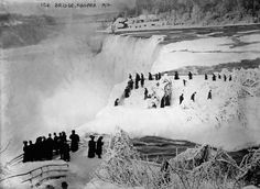 Ice Bridge, Niagara 1912, photographed by the Bain News Service from the Canadian side of the falls toward the USA in 1912 on 5x7 glass plate negative. Summary: Photo shows Luna Island with ice bridge