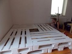 Double bed build with 8 euro pallets Doppelbett build mit 8 Europaletten 3 Double bed build with 8 euro pallets 3 - Pallet Bedframe, Wood Pallet Beds, Diy Pallet Bed, Diy Pallet Furniture, Bed Frame Pallet, Design Furniture, Pallet Ideas, Furniture Ideas, Room Ideas Bedroom