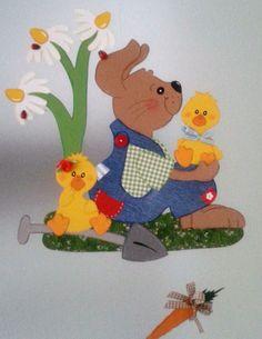 Fensterbild Hase mit Küken-Frühling - Ostern-Küche-Dekoration - Tonkarton!