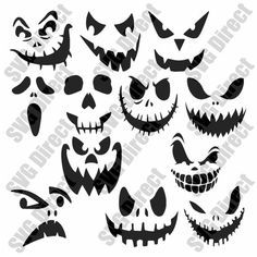 12 Halloween Pumpkin Scary Face Decal Designs – SVG cut file – use with Silhouette Studio & Cricut, Vector Art, Digital Cutting Cut Files – Schnitzerei Moldes Halloween, Fete Halloween, Diy Halloween Decorations, Halloween Crafts, Halloween Face, Scary Halloween Pumpkins, Scary Pumpkin Faces, Scary Faces, Ghost Faces