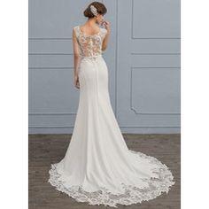 Trumpet/Mermaid Scoop Neck Court Train Satin Wedding Dress (002118439)
